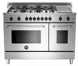 """MAS486GDFSXT Bertazzoni Master Series 48"""" Dual Fuel 6 Burner Range with Gas Range Top with Griddle and Electric Self-Clean Double Oven - Stainless Steel"""