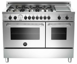 """MAS486GGASXT01 Bertazzoni Master Series 48"""" 6 Burner All Gas Range with Double Oven and Griddle - Stainless Steel"""