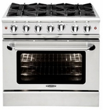 """MCOR364BL Capital 36"""" Culinarian Series Liquid Propane Gas Manual Clean Range with 4 Open Burners & 12"""" Broil Burner - Stainless Steel"""