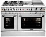 "MCOR484BGN Capital 48"" Culinarian Series Natural Gas Manual Clean Range with 4 Open Burners with 12"" Broil Burner & 12"" Thermo Griddle - Stainless Steel"