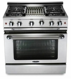 """MCR364GL Capital Precision Series 36"""" LP Gas Range with 4 Power-Flo Burners & Thermo-Griddle - Stainless Steel"""