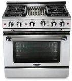"""MCR364GN Capital Precision Series 36"""" Natural Gas Range with 4 Power-Flo Burners & Thermo-Griddle - Stainless Steel"""