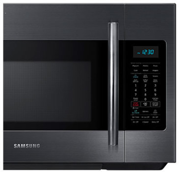 "ME18H704SFG Samsung 30"" 1.8 cu. ft. Capacity Over-The-Range Microwave with Digital LED Display and Ceramic Enamel Interior - Fingerprint Resistant Black Stainless Steel"