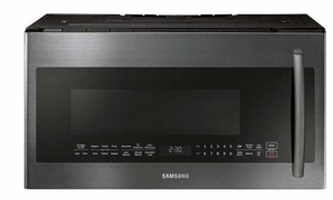 "ME21K7010DG Samsung 30"" 2.1 cu.ft. Over The Range Microwave with Sensor Cooking and 10 Power Levels - Finger Print Resistant Black Stainless Steel"