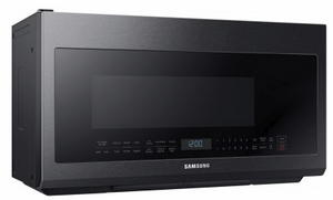 """ME21M706BAG Samsung 30"""" 2.1 cu. ft. Over-The-Range Microwave with Sensor Cook and Precise Glass Controls - Fingerprint Resistant Black Stainless Steel"""