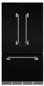 "MELFDR23BLK AGA 36"" Mercury French Door Counter Depth Refrigerator with Humidity-Controlled Crisper Drawers and Theatre-Style Interior Lighting - Gloss Black"