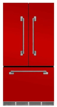 "MELFDR23SCR Aga 36"" Mercury French Door Counter Depth Refrigerator with Humidity-Controlled Crisper Drawers and Theatre-Style Interior Lighting - Scarlet"