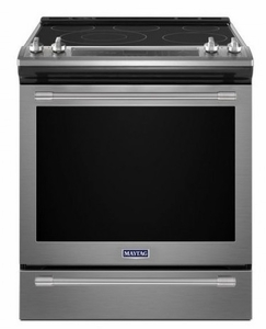 """MES8800FZ 30"""" Maytag 6.4 cu. ft. Finger Print Resistant Slide-In Electric Range with True Convection and Fit System - Stainless Steel"""