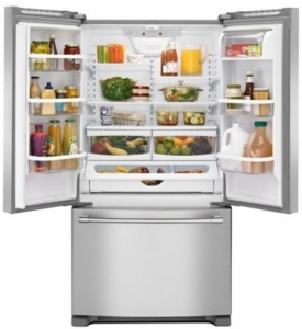 "MFF2558FEZ Maytag 36"" French Door Refrigerator with BrightSeries LED Lighting and Humidity Controlled FreshLock - Fingerprint Resistant Stainless Steel"