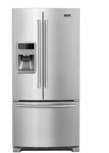 "MFI2269FRZ 33"" Maytag 22 cu. ft. French Door  Refrigerator with 3 Adjustable Glass Shelves and External Water-Ice Dispenser - Fingerprint Resistant Stainless Steel"