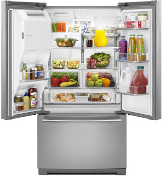 "MFT2776FEZ Maytag 36"" 26.8 cu. ft. Capacity French Door Refrigerator with 3 Glass Shelves and Full-Width Storage Drawer - Fingerprint Resistant Stainless Steel"