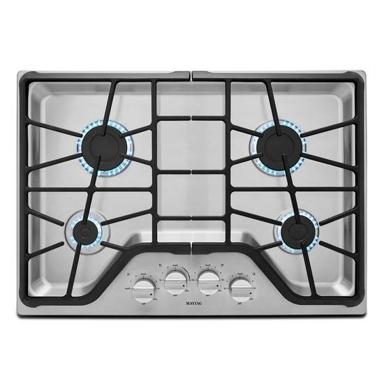 MGC7430DS Maytag 30 Inch 4 Burner Gas Cooktop With Power Burner   Stainless  Steel