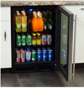 "ML24BCF2LP Marvel 24"" Beverage Center with Two 60/40 Split Convertible Shelves - Left Hinge - Custom Panel"