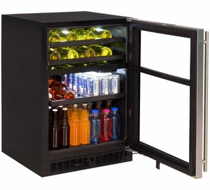 """ML24WBP2RP Marvel 24"""" Right Hinge Solid Frame Door Dual Zone Wine Beverage Center with Vibration Neutralization System and Thermal Efficient Cabinet - Custom Panel Ready"""