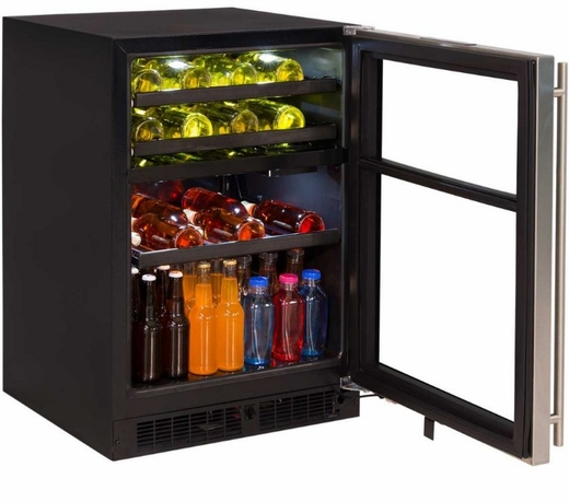 "ML24WBP2RP Marvel 24"" Right Hinge Solid Frame Door Dual Zone Wine Beverage Center with Vibration Neutralization System and Thermal Efficient Cabinet - Custom Panel Ready"