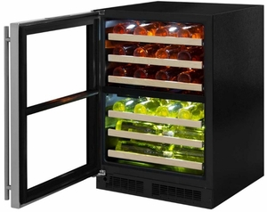 """ML24WDF4LP Marvel 24"""" Left Hinge High Efficiency Glass Frame Door Dual Zone Wine Refrigerator with Vibration Neutralization System and Thermal Efficient Cabinet - Custom Panel Ready"""