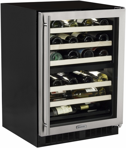 "ML24WDG2RS Marvel 24"" High Efficiency Dual Zone Wine Cellar - Right Hinge - Stainless Frame"