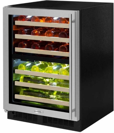 "ML24WDG3LS Marvel 24"" Left Hinge High Efficiency Glass Frame Door Dual Zone Wine Refrigerator with Vibration Neutralization System and Thermal Efficient Cabinet - Stainless Steel"