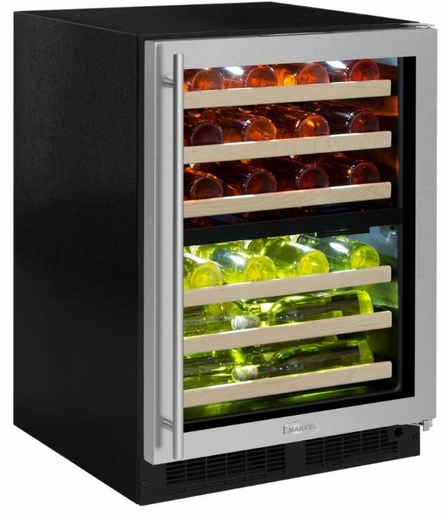 "ML24WDG3RB Marvel 24"" Right Hinge High Efficiency Glass Frame Door Dual Zone Wine Refrigerator with Vibration Neutralization System and Thermal Efficient Cabinet - Black"