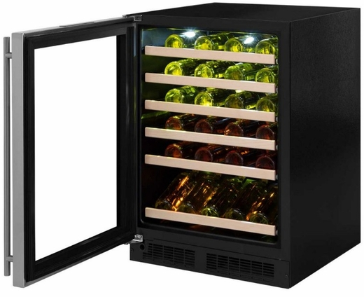 "ML24WSF4LP Marvel 24"" Left Hinge High Efficiency Glass Frame Door Single Zone Wine Refrigerator with Vibration Neutralization System and Thermal Efficient Cabinet - Custom Panel Ready"