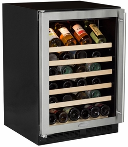 "ML24WSG0LS Marvel 24"" Left Hinge Standard Efficiency Glass Frame Door Single Zone Wine Refrigerator with Vibration Neutralization System and Thermal Efficient Cabinet - Stainless Steel"