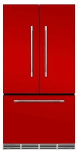 """MMFCDR23SCR AGA 36"""" Mercury French Door Counter Depth Refrigerator with Humidity-Controlled Crisper Drawers and Theatre-Style Interior Lighting - Scarlet"""