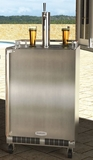 "MO24BTSMRS Marvel 24"" Outdoor Twin Tap Mobile Beer Dispenser (Right Hinge)  - Stainless Steel"