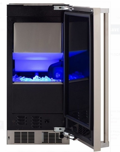 "MP15CPP2LP 15"" Marvel Professional Series Right Hinge Clear Ice Maker With Factory Installed Pump - Custom Panel"