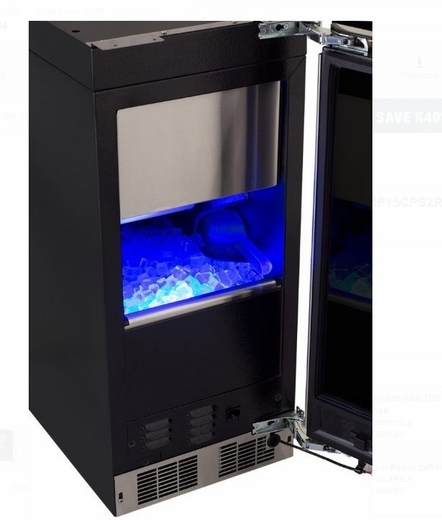 "MP15CPP2RP 15"" Marvel Professional Series Right Hinge Clear Ice Maker With Factory Installed Pump - Custom Panel"