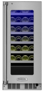"""MP15WSG4LS Marvel 15"""" Professional Left Hinge Glass Door Frame High Efficiency Single Zone Wine Refrigerator with Vibration Neutralization System and Dynamic Cooling Technology - Stainless Steel"""