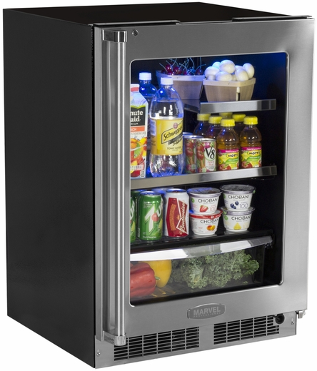"MP24BRG3RS Marvel Professional 24"" Beverage Center with Lock - Right Hinge - Stainless Frame"