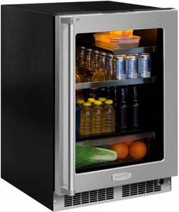 "MP24BRG4RS Marvel 24"" Professional Right Hinge Glass Frame Door Beverage Center with Drawer - Stainless Steel"