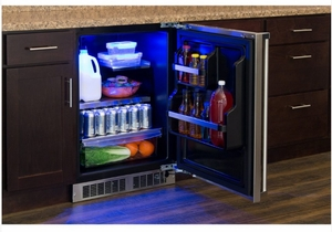 """MP24RAS4RS Marvel 24"""" Professional Right Hinge Solid Panel Undercounter All Refrigerator with Dynamic Cooling Technology and MaxStore Bin - Stainless Steel"""