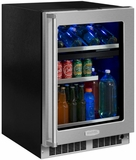 "MP24WBG4RS Marvel 24"" Professional Right Hinge Glass Frame Door Undercounter  Dual Zone Wine and Beverage Center with Dynamic Cooling Technology and Close Door Assist System - Stainless Steel"