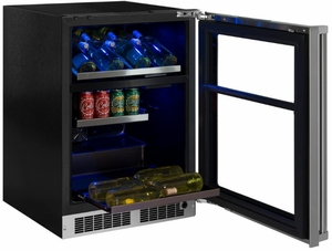 """MP24WBG4RS Marvel 24"""" Professional Right Hinge Glass Frame Door Undercounter  Dual Zone Wine and Beverage Center with Dynamic Cooling Technology and Close Door Assist System - Stainless Steel"""