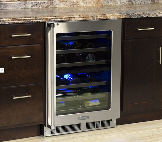 """MP24WDF5LP Marvel 24"""" Professional High Efficiency Left Hinge Glass Frame Door Undercounter Dual Zone Wine Cellar with Dynamic Cooling Technology and Close Door Assist System - Custom Panel"""