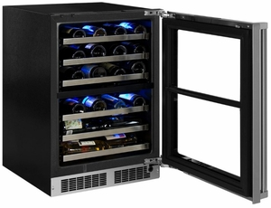 "MP24WDF5LP Marvel 24"" Professional High Efficiency Left Hinge Glass Frame Door Undercounter Dual Zone Wine Cellar with Dynamic Cooling Technology and Close Door Assist System - Custom Panel"