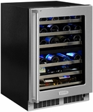 "MP24WDF5RP Marvel 24"" Professional High Efficiency Right Hinge Glass Frame Door Undercounter Dual Zone Wine Cellar with Dynamic Cooling Technology and Close Door Assist System - Custom Panel"