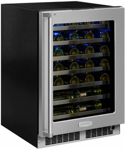 """MP24WSF5RP Marvel 24"""" Professional High Efficiency Right Hinge Glass Frame Door Undercounter Single Zone Wine Cellar with Dynamic Cooling Technology and Close Door Assist System - Custom Panel"""