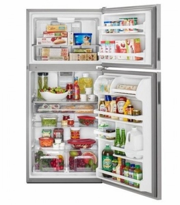 """MRT311FFFM 33"""" Maytag Monochromatic Top Freezer Refrigerator with Power Cold and BrightSeries LED Lighting  - Stainless Steel"""