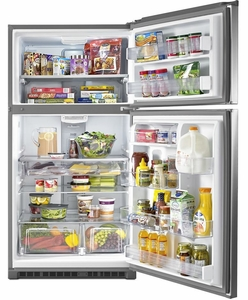 """MRT711SMFZ 33"""" Maytag Top Freezer Refrigerator with Power Cold and EvenAir Cooling Tower - Stainless Steel"""