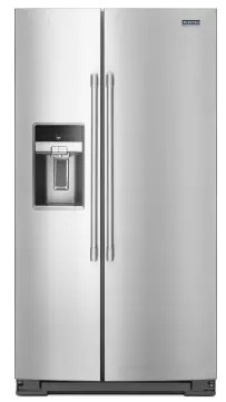 "MSS26C6MFZ Maytag 36"" 26 cu. ft. Side-by-Side Refrigerator with PowerCold and EveryDrop Water Filter - PrintShield Stainless Steel"
