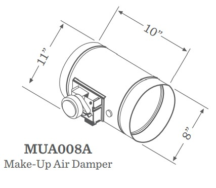 MUA008A Zephyr Universal Make-Up Air Damper for up to 1000 CFM