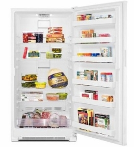 "MZF34X18FW 31"" Maytag 18 Cu. Ft. Upright Freezer with Reversible Door Lock and LED Lighting - White"