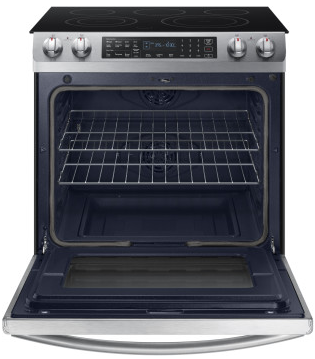 "NE58K9430SS Samsung 30"" Slide-In Electric Range with 5 Smoothtop Elements and Steam Self-Cleaning Mode - Stainless Steel"