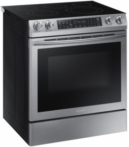 """NE58K9430SS Samsung 30"""" Slide-In Electric Range with 5 Smoothtop Elements and Steam Self-Cleaning Mode - Stainless Steel"""