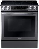 """NE58K9500SG Samsung 31"""" Slide-In Electric Range with Guiding Light Controls and Perfect Cooking Probe - Black Stainless Steel"""
