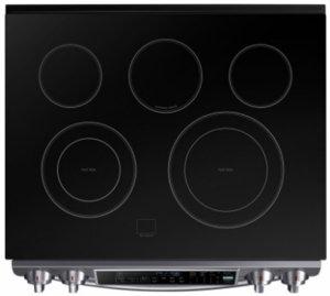 "NE58K9500SG Samsung 31"" Slide-In Electric Range with Guiding Light Controls and Perfect Cooking Probe - Black Stainless Steel"