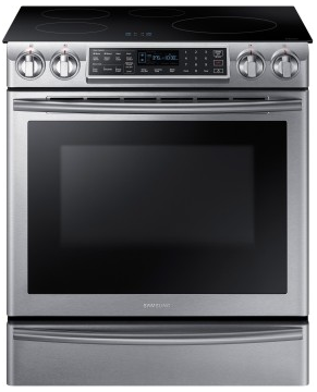 """NE58K9560WS Samsung 30"""" Induction Slide-In Rang with Virtual Flame Technology and WiFi Connectivity - Stainless Steel"""