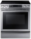 "NE58K9560WS Samsung 30"" Induction Slide-In Rang with Virtual Flame Technology and WiFi Connectivity - Stainless Steel"